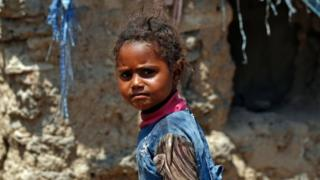 A Yemeni child at a camp for internally displaced persons on the outskirts of Sanaa. Photo: 15 April 2017