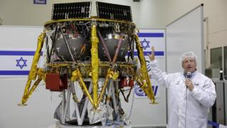 Ofer Doron, director of Israeli Aerospace Industry Programme, presents the SpaceIL's Moon probe in Yahud, Israel (10 July 2018)