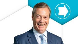 Nigel Farage in front of the Brexit Party emblem