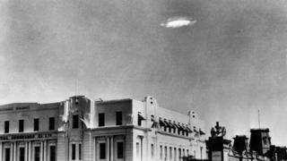 An Unidentified Flying Object (UFO) in the sky over Bulawayo, Southern Rhodesia (now Zimbabwe) in 1953