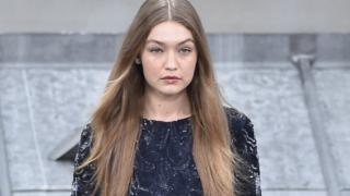 Gigi Hadid on the runway of the Chanel fashion show