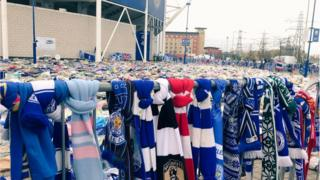 Tributes left near the stadium