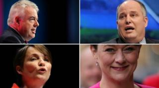 Carwyn Jones, Andrew RT Davies, Leanne Wood, Kirsty Williams (from top left clockwise)