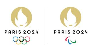 A handout photo by the Organising Committee of the Paris 2024 Olympic and Paralympic Games shows the logos of the Paris 2024 Olympic Games (L) and the Paralympic Games (R).