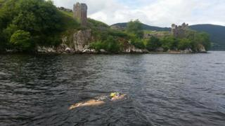 Helen Beveridge swimming in Loch Ness