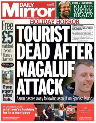 Daily Mirror front page Tuesday 2 May