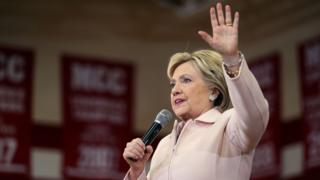 Democratic presidential candidate former Secretary of State Hillary Clinton speaks during a 'get out the caucus' event at Grand View University