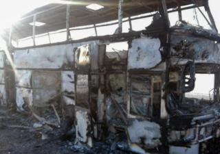 Kazakh government photo shows charred bus near Aktobe