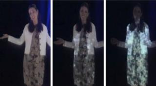 Jacinda Ardern as a hologram