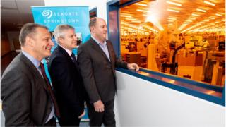 Jeremy Fitch, Executive Director at Invest Northern Ireland, Noel Lavery, Permanent Secretary at the Department for the Economy and Dave Mosley, Chief Executive Officer of Seagate Technology.