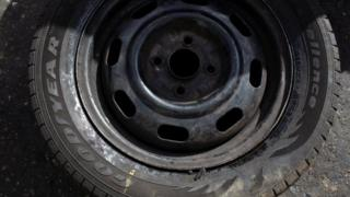 A Goodyear tyre at a workshop in Caracas, Venezuela. Photo: 10 December 2018
