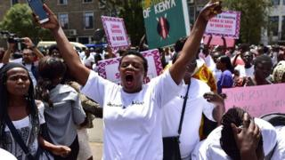 Activists demonstrate outside the parliament in Nairobi on February 08, 2018 to protest against the lack of adequate inclusion of women, youth and the disabled among nominees proposed by Kenyan President to his new cabinet