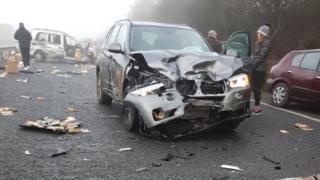 A40 crash scene