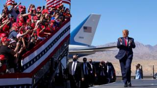 U.S. President Donald Trump applauds as he arrives for a campaign rally at Laughlin/Bullhead International Airport in Bullhead City, Arizona, U.S., October 28, 2020