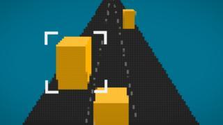 Ilustração mostra a marcação de um vídeo de uma estrada com carros em movimento