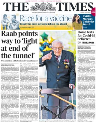 The Times front page, 17/4/20