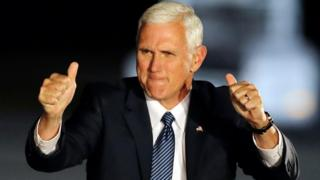 Vice President-elect Mike Pence reacts after speaking at a public rally Thursday, 10 November 2016, in Indianapolis.