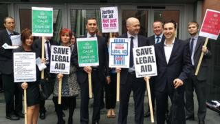 Solicitors protesting outside