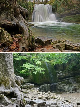 The waterfall at Janet's Foss near Malham, in the Yorkshire Dales, is seen dried up