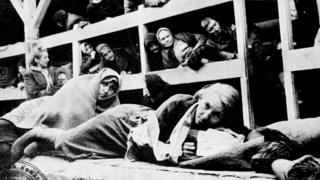Women at Auschwitz shortly after liberation by Soviet forces, 1945