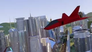 Una nave espacial virtual sobre una ciudad ficticia