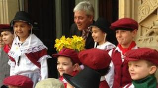 John Bercow with children from the London Welsh School