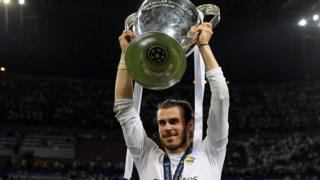 Gareth Bale with the Champions League trophy