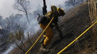 A fire fighter climbs a steep hill as he battles the Rocky fire near Lower Lake, California (03 August 2015)