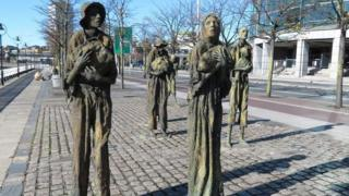 Dublin statues commemorating the Great Famine in which around one million people died and a million more emigrated from Ireland