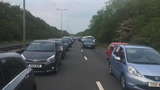 Cars queuing on the A4232
