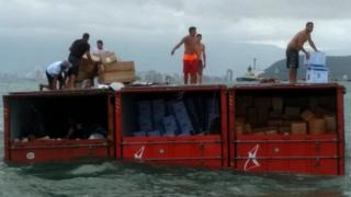 Brazilian cargo ship looted after containers go overboard