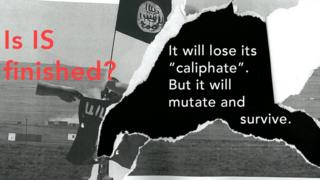 A graphic showing an Islamic State flag with the question Is IS finished?