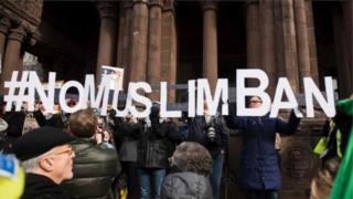 Protesto contra o veto de Trump a cidadãos de sete países