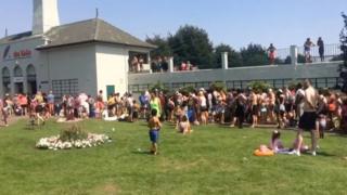 Long queues outside Peterborough Lido