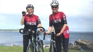 Mavis Paterson and her cycling partner