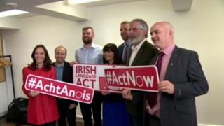 Party representatives backing an Irish language act