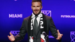 David Beckham en el anuncio de su nuevo equipo