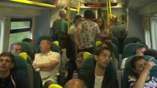 Passengers on a Southern train