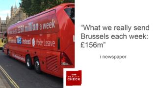Headline from i newspaper: What we really send Brussels each week £156m""
