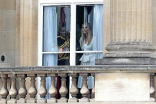 Ivanka Trump looks out of the window at Buckingham Palace