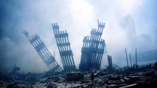 The ruins of one the Twin Towers smouldering on September 11, 2001