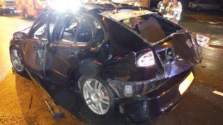 The damaged car