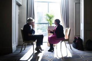 in_pictures Sinn Fein leader Mary Lou McDonald talks to a journalist during Sinn Fein's General Election launch.