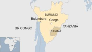 map of Burundi showing Gitega in centre and Rutana in south east