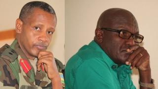 Col Tom Byabagamba (ibumoso) na muramu we bareganwa Gen Frank Rusagara (iburyo)