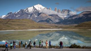 Tourists in the Torres del Paine National Park in Patagonia, Chile. 26 Feb 2016