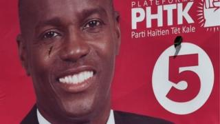 An election poster of the presidential candidate Jovenel Moise in Port-au-Prince on 12 November, 2015