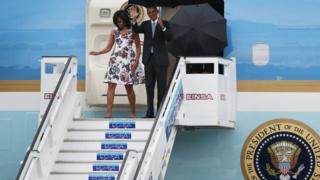 President Barack Obama and Michelle Obama arrive at Jose Marti International Airport on Airforce One for a 48-hour visit to Cuba