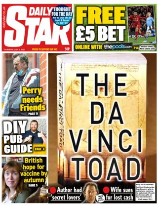 Daily Star front page 02.07.20
