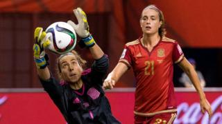 "Spanish goalkeeper Ainhoa Tirapu (L) said it was time to ""fight for our rights"""